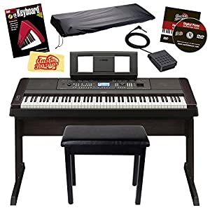 Yamaha DGX650 Digital Piano Bundle with Yamaha Furniture-Style Stand, Furniture-Style Bench, Dust Cover, Sustain Pedal, Power Adapter, Austin Bazaar Instructional DVD, Instructional Book, and Polishing Cloth - Black