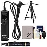 Canon RS-60E3 Remote Switch Shutter Release Cord + Tripod + Accessory Kit EOS 60D, 70D, Rebel T3, T3i, T4i, T5, T5i, T6i, T6s DSLR Camera