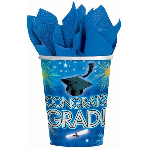 Dazzling Grad Graduation 9 oz. Paper Cups Party Accessory