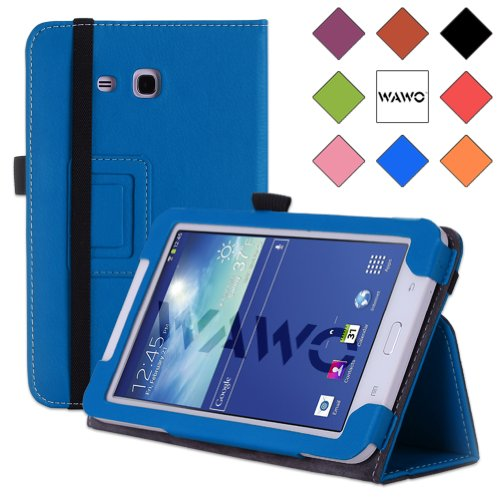 Wawo Samsung Tab 3 Lite 7.0 Inch Tablet Folio Case Cover - Blue front-808640