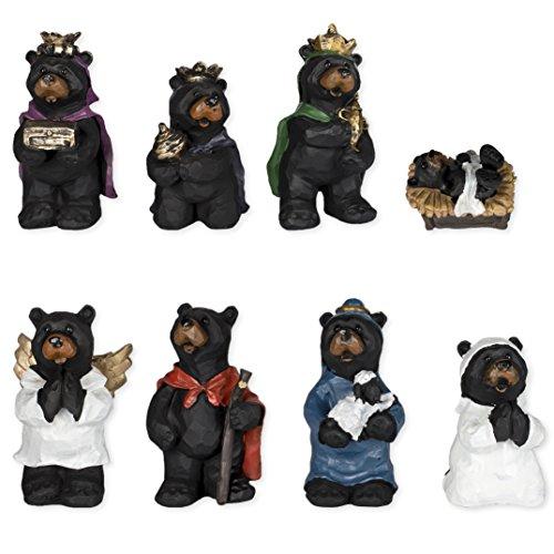 8 Piece Black Bear Figurines Resin Nativity Set (Bear Nativity Set compare prices)