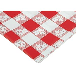 Creative Converting Octy-Round Plastic Table Cover, 82-Inch, Red Gingham