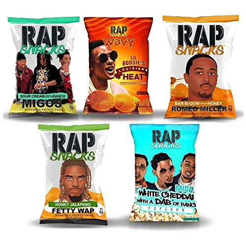 Ultimate Rap Snacks potato chips variety pack-Lil Boosie, Fetty Wap, Migos, Romeo Miller, DAB RANCH POPCORN - 2.75 oz bags (Pack of 5)