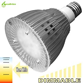 ecoBrites Dimmable PAR30 LED light (replacing 60w incandescent/halogen PAR30L/BR30/R30). Warm White (2700k)