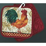 Pair of Pot Holders Potholders Rooster Tiles