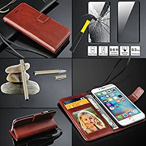 HTC Desire 820 Rich Leather Stand Wallet Flip Case Cover Book Pouch / Quality Slip Pouch / Soft Phone Bag (Specially Manufactured - Premium Quality) Antique Leather Case With Touch TEMPERED GLASS AND Stylus Pen Brown