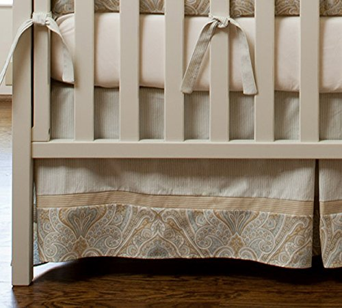 Blue And Taupe Paisley 2-Piece Crib Bedding Set