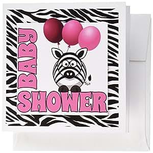 3dRose Baby Girl Zebra Print Baby Shower Jungle Theme ...