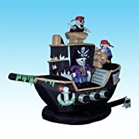 7 Foot Halloween Inflatable Skeletons Ghosts on Pirate Ship Party Decoration