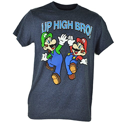 Super Mario Luigi Up High Bro Nintendo Video Game Heather Navy Tshirt Tee