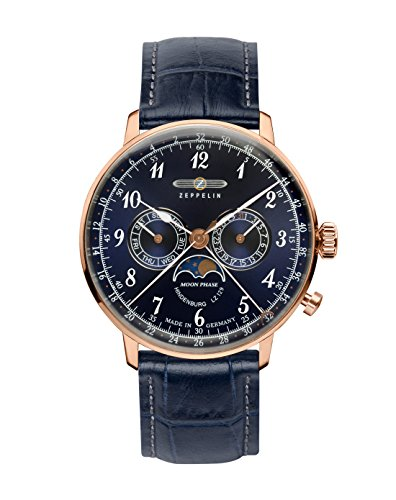 Zeppelin Hindenburg Mens Watch with Moonphase 7038-3