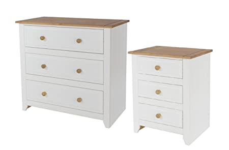 3 Drawer Chest & 3 Drawer Bedside Bedroom Furniture White & Solid Pine Tops