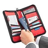 サンワダイレクト パスポートケース 12ポケット 航空券対応 トラベル オーガナイザー Lサイズ ブラック 200-BAGIN002BK