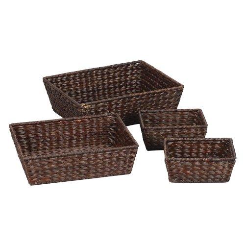 Household Essentials Banana Leaf 4-Piece Basket Set, Dark Brown Stain front-66427