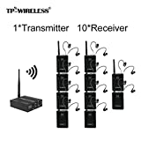 TP-WIRELESS 2.4GHz Professional In-ear Digital Wireless Stage audio Monitor System (1 Transmitter and 10 Receivers) (Tamaño: 1 Transmitter and 10 Receivers)