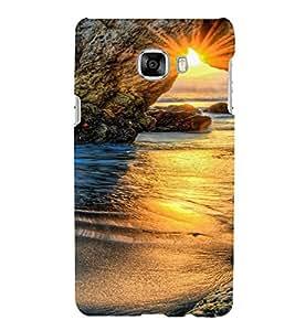 PrintVisa Travel Beach Sunset Design 3D Hard Polycarbonate Designer Back Case Cover for Samsung C7