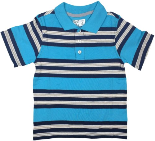French Toast Boys Cool Stripe Short Sleeves Polo Shirt - La2570 - Light Blue, 10 front-1040658