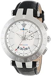Versace Men's 29G99D001 S009 V-Race Silver Dial GMT Alarm Date Black Leather Strap Watch