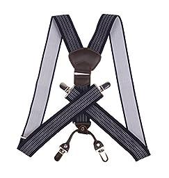 JIERKU Mens Suspenders Leather Suspenders for Men Navy Suspenders Navy Stripe 1