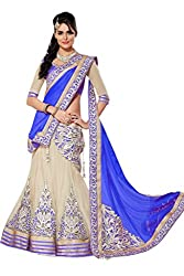 Apka Apna fashion Cream and blue Embroidered Net,Silk Designer Lehngha Choli with blouse
