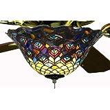 Tiffany Street 25021 Peacock Stained Glass Ceiling Fan Light Kit