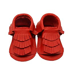 Sayoyo Baby Tassels Soft Sole Leather Infant Toddler Prewalker Shoes Summer Sandal Toddler Shoes