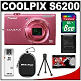 Nikon Coolpix S6200 Digital Camera (Pink) with 8GB Card + Case + Accessory Kit