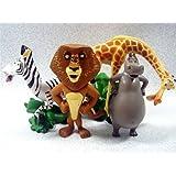 "Set of 4 Madagscar 3"" to 4"" Figures Featuring Gloria the Hippo, Alex the Lion, Marty the Zebra, and Melman the Hypochondriac Giraffe"