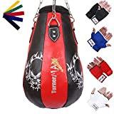 TurnerMAX Pear Shape Maize Bag, Boxing Punch Bag, Filled, FREE Chain & Mitts, Training Bag for MMA, Boxing, etc - Red/Blk