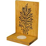 Indian Artisans Online Wooden Tealight Candle Holder (15 Cm X 10 Cm, Yellow, IAHTH098)
