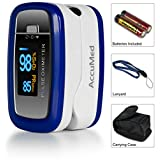 AccuMed® CMS-50D1 Pulse Oximeter Finger Pulse Blood Oxygen SpO2 Monitor w/ Carrying case, Landyard & Battery FDA CE Approved (Blue)