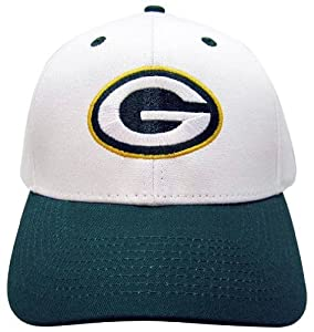 NFL Green Bay Packers Basic Logo Velcro Closure Baseball Hat, White by Eclipse Specialties
