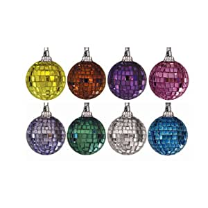 Mr. Light Assorted Colors Mirror Ball Ornaments, 64 Count, 8 Colors, 1-Inch Each