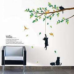ウォールステッカー(壁に貼る はがせる 壁紙 壁シール 壁ステッカー) 木で遊んでいる猫