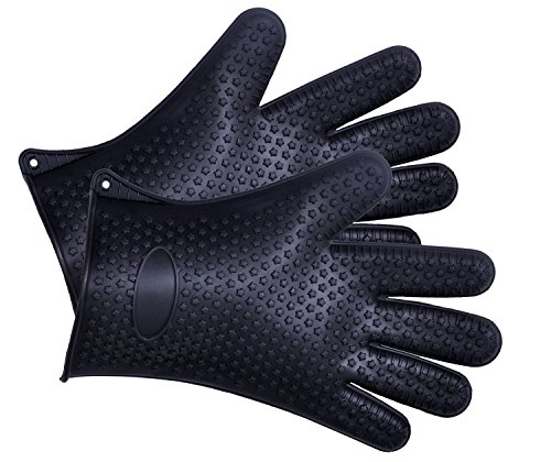 Cutequeen Silicone BBQ Gloves Max Heat Resistant Grilling for BBQ,Grill,Oven,Smoking and Cooking Gloves, Baking,Black(pacl of 2) (Silicone Bbq Gloves Black compare prices)