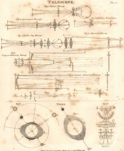 Telescopes: Galileo Astronomical Wolfius Achromatic Gregory Newton; Tides;1830