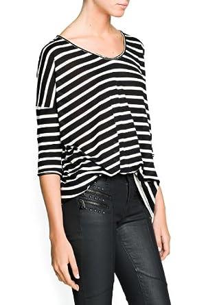 'Mango Women's Striped Modal-Blend T-Shirt, Black, Xxs