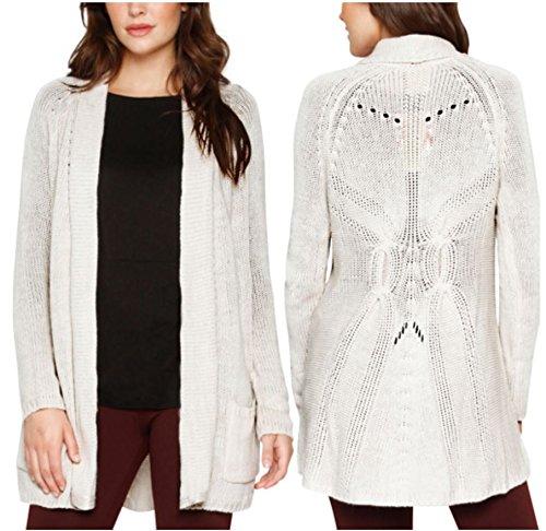 Matty M Women's Wool Blend Crochet Open Front Cardigan Sweater (Medium, Oatmeal)