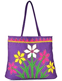 Women Cottage Purple Cotton Flower Bunch Patch Work Bag