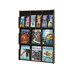 Safco Products 5702MH Expose Literature Display, 9 Magazine 18 Pamphlet , Mahogany/Black