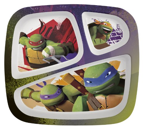 Zak! Designs 3-Section Plate featuring Teenage Mutant Ninja Turtle Graphics, Break-resistant and BPA-free Plastic - 1