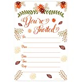Fall Theme Fill In Invitations - Wedding, Bridal Shower, Baby Shower, Engagement Party, Birthday - (20 Count) With Envelopes