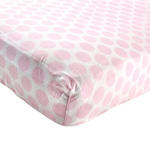 Discover Bargain Luvable Friends Fitted Flannel Crib Sheet, Pink Fuzzy Dots