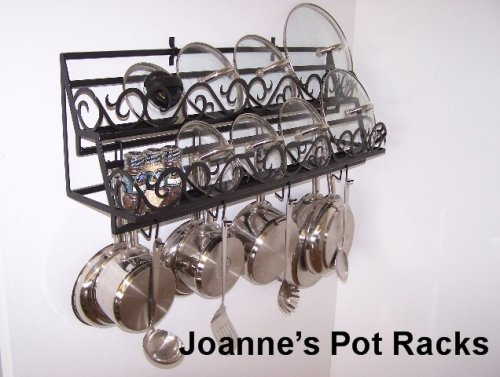 Cheap Wall pot rack for lids & spice organizer from Joanne Black Texture (WDBLLIDSCROLL2448bt)