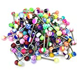 100PC 14G Mixed Tongue Rings Barbells Body Piercing Jewelry Lot