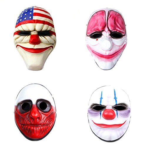 Payday2 Movie Mask,Set of 4 Clown, Dallas, Chains, HOXTON, Wolf Resin Mask
