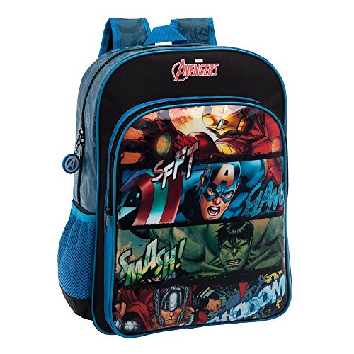 Marvel 4412351 Avengers Zaino Scuola a Spalla Elementare Media Zainetto Blu e Nero 30 x 40 x 16 cm Marvel