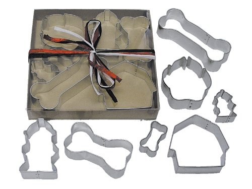 R&M International 1947 Dog Cookie Cutters, House, 2 Fire Hydrants, Paw, 3 Bones, 7-Piece Set