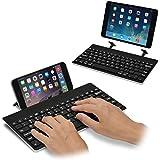 [スタンド内蔵] iPad&iPhone 用 マルチキーボード Bookey© Plus(ブラック)iPad シリーズ・iPad mini/mini2(Retina)/mini3/mini4/Air/Air2・iPad Pro 9.7インチ・iPhone6/6 Plus/6s/6s Plus/7/7 Plus 対応のワイヤレスキーボード【JTT Online】技適認証済
