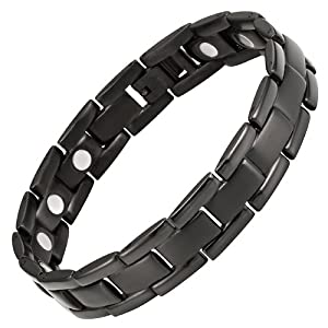 Willis Judd New Mens Black Titanium Magnetic Bracelet in Velvet Box with Free Link Removal Tool